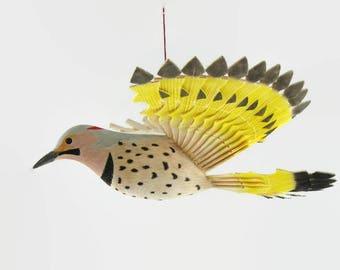 Wooden Bird Hanging Mobile, Hand Carved Northern Flicker Wildlife Woodwork, Handmade Fan Carving, 5th Anniversary Gift, Hobby Folk Art Craft