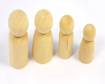 3D Wood Peg Dolls Pack of 8 Solid Wooden People Shapes in Different Sizes Ready to Decorate Peg Shapes