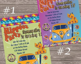 Hippie Hippies Party Invitation / Peace /Flower Child / 60's Printable Invitation / I add Information, You Print - sent digitally