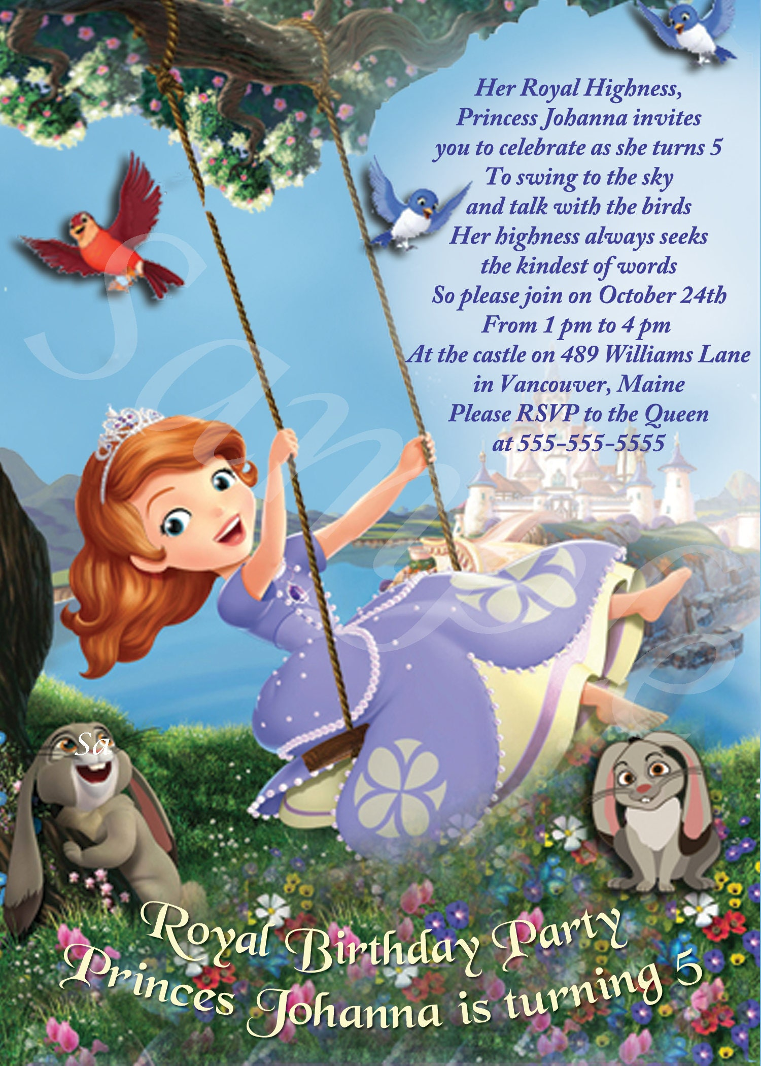 Sofia the First Birthday Party Invitation -on a swing - Custom for ...