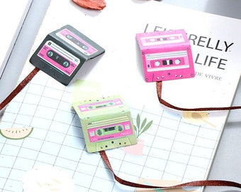 Set of 3 cassette tape magnetic bookmarks - PINK