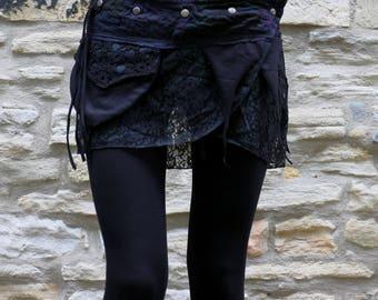 Mini Pixie skirt, Goa, Steampunk, Psy, Belt skirt, wrap skirt