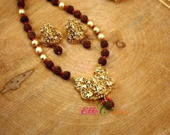 Unique Ganesha Rudraksha and coral necklace/Ganesha necklace/ethnic necklace/temple jewelry/statement necklace/Ganesha statement necklace