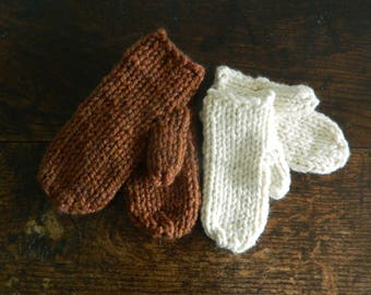 Hand Made Super Chunky Mittens - Hand Made Mittens - Vegan Wool Mittens