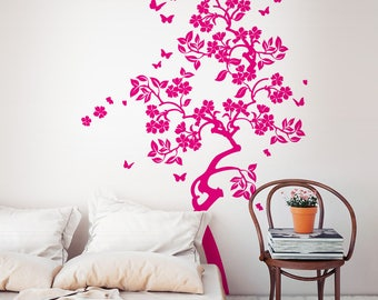 "01413 ""Flowered tree with butterflies"" Wall Stickers Decoration trees"