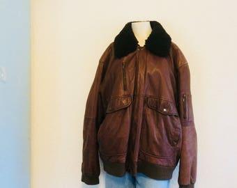 Mens vintage leather jacket   mens leather coat   vintage leather jacket   vintage lederen herenjas   size XL/XXL