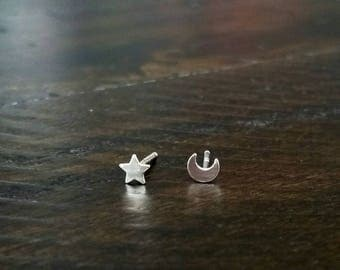 Tiny Silver Moon and Star Stud Earrings - Mini Studs - Celestial Post Earrings - Crescent Moon - Moon Sliver - Sterling Silver