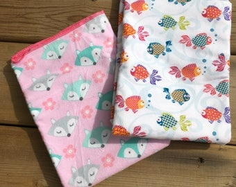 Baby Blanket, Receiving Blanket set, Flannel Crib Blanket