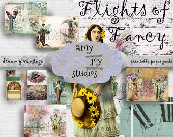 Flights of Fancy  Vintage Fairy Journal Kit  Printable Journal Kits  Mini Album  Ephemera vintage  Junk Journal Kit  Digital Journal Kits