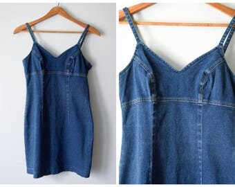 90s denim jumper dress | XS/S
