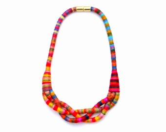 Colorful Fabric Braided Necklace, Textile Statement Necklace, Rope Necklace, Modern Textile Jewelry, Colorful Jewelry, Unique Necklace