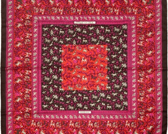 "HERMES SCARF Silk ""Chasse en Inde"" by Michel Duchene Vintage 90cm Carre 100% Auth"