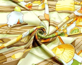 "HERMES SCARF Silk ""Marche Flottant du Lac Inle"" by D. Rybaltchenko 90cm Carre 100% Auth"