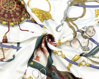"""HERMES SCARF Silk """"Memoire d'Hermes"""" by Caty Latham 90cm Carre 100% Auth"""