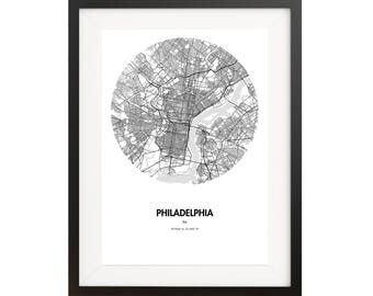 Philadelphia Map Poster - 18 by 24 inch Map Print
