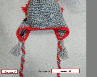 """original Cap knitted and embroidered for children 4-6 """"Peruvian Style"""". French HANDMADE. unique, creating Madame Bo."""