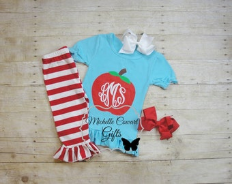 Apple Outfit, Back to School, Monogram Outfit, Monogrammed Outfit, Girls, 3, 4, 5, 6, RTS, Capri, Ruffle, Pre-K, Preschool, Kindergarten