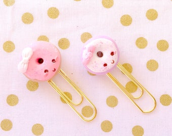 Sweet and Happy Kawaii Donuts -  Handmade Polymer Clay Charm /  Planner Clips / Planner Accessories