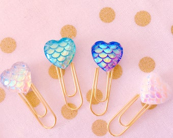 The Mermaid Collection • Kawaii Mermaid Hearts / Planner Clips / Planner Accessories