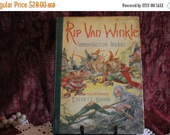 Christmas in July 1939 Hardbound Rip Van Winkle by Washington Irving with Color Illustrations