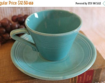 SALE Vintage Fiesta Harlequin Tea Cup and Saucer - Turquoise