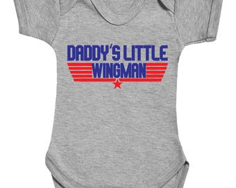 Daddy's Little Wingman cute funny babygrow bodysuit