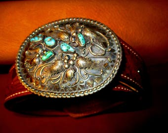 Vintage Silver and Turquoise buckle
