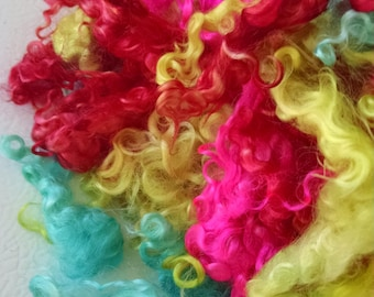 Kid Mohair Locks - Hand Dyed Locks - Doll Hair - Spinning - Troll Hair - Felting - Doll Making - Wool Locks - Locks - Dizzy - Lockspinning