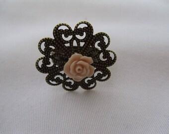 rose flower bronze ring