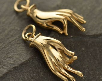 Mudra Charm. Natural Bronze Mudra Charm or Sterling Silver Mudra Charm.