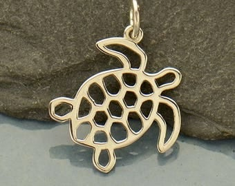 Sterling Silver Sea Turtle Charm.