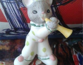 Vintage Lefton Clown Mouse Figurine/Blowing Horn