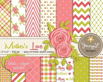 50% OFF Mother's Day Digital Paper, Flower Clipart, Lime and Coral Scrapbooking Papers, Mom, Mother, Mommy, Mum, Ranunculus Flowers, Coral C