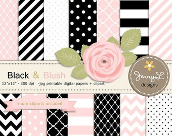 50% OFF Black and Blush Pink Digital Paper, Blush Rose Flower Clipart for Wedding, Bridal Baby Shower, Birthday, Digital Scrapbooking, Invit