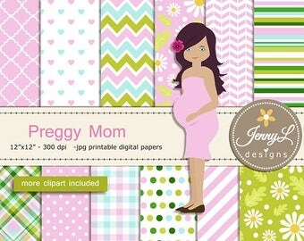 50% OFF Pregnant Digital papers and Clipart SET, Mom-to-be, Baby Shower, Pregnancy Announcement, Gender Reveal Digital scrapbooking