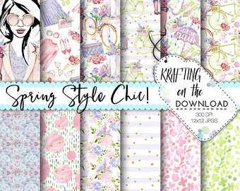 watercolor spring fashion paper pack planner girl paper pack spring fashion paper pack watercolor spring fashion digital papers