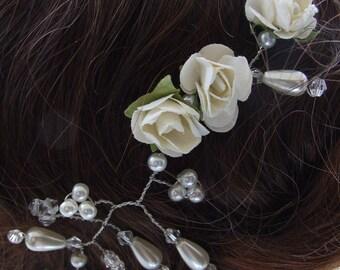 Ivory rose bridal hair vine