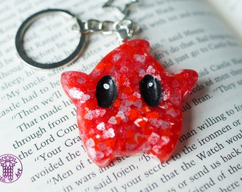 Red Glittery Heart Valentine Inspired Luma Key Chain