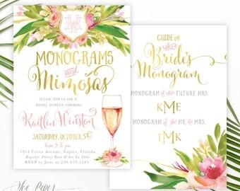 Monograms & Mimosas Bridal Shower Invitation: Mimosas and Monograms Bridal Shower Invite, Tropical Floral, Digital or Printed - Kaitlin