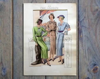 1935 Chic Parisien Hand Colored Print #7077
