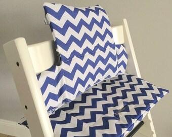 "Highchair Cushion ""Chevron Blue"" for Stokke Tripp Trapp"