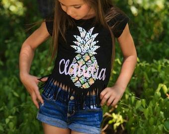 Pineapple Shirt -Pineapple Fringe Shirt - Personalized Pineapple Shirt - Luau Birthday Shirt - Custom Girls Shirt - Pineapple - Aloha Shirt