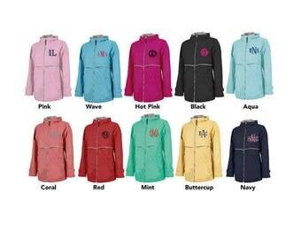 Monogram Rain Jacket - Charles River Women's Rain Jacket- FREE LEFT CHEST MONOGRAM11 color options