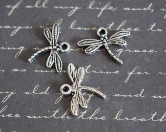3 thin 18 silver metal Dragonfly charms, 5x15mm