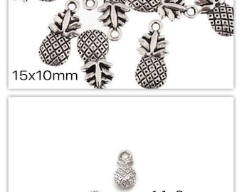 2 silver pineapple charms