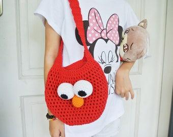 Crochet Elmo Bag Amigurumi - Handmade Crochet Amigurumi Elmo Tote Bag - Sesame Street - Elmo Crochet - Amigurumi Elmo