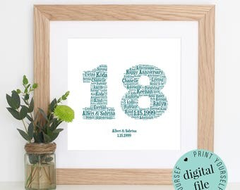 18th ANNIVERSARY GIFT - Word Art - Printable Gift - 18 Year Anniversary - 18th Wedding Anniversary - Word Art Gift - Personalised Gifts