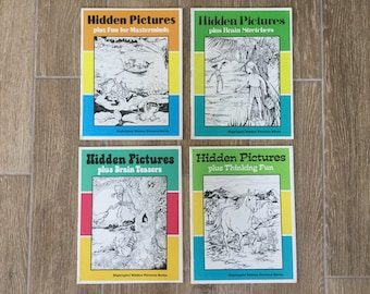 Highlights Hidden Pictures Series handbooks, 4 Vintage issues from 1986, Excellent Condition and Mostly Unused