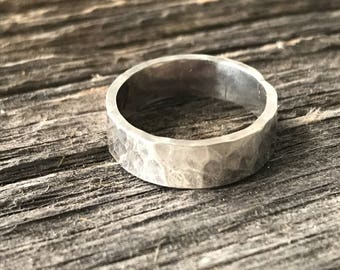 Hammered Recycled Sterling Silver band - gender neutral and ultra thick band