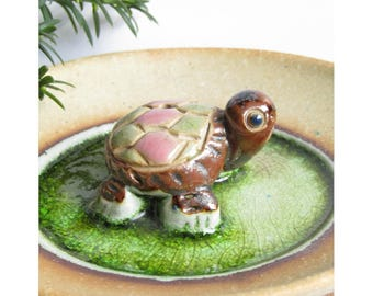 Turtle ceramic stoneware incense holder dish green glaze handmade in England sweet housewarming gift tortoise in a pond cute gift present